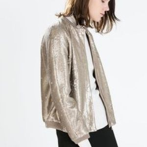 NWOT Zara Gold Sequin bomber jacket!